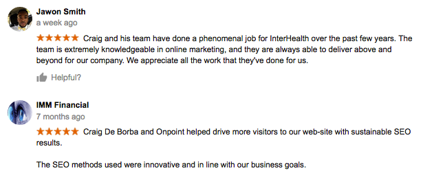 Onpoint internet marketing and seo in sacramento positive testimonials and review.