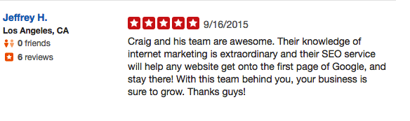Onpoint Internet Marketing and Craig De Borba review from seo services on yelp.