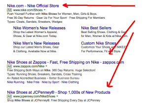 Pay per click ads in Google, showing Zappos PPC ads.