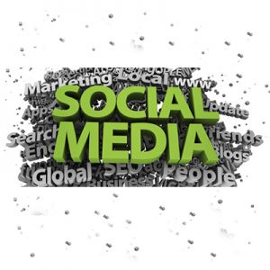 Social media services in green with gray background words.