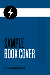 Blue sample marketing book with white.