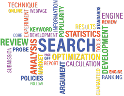 Search optimization, keywords, backlinks, analysis in different colors.