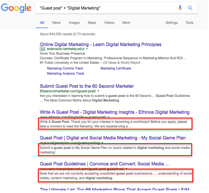 Search queries for guest posting in the digital marketing niche.