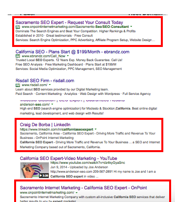 Screenshot of onpoint internet marketing serp positions.