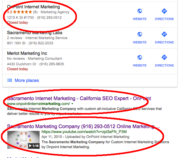 Local SERP for onpoint internet marketing ranking locally with map, organic and video.