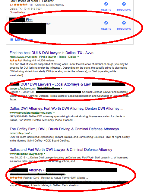 Local attorney ranking with many positions in Google.