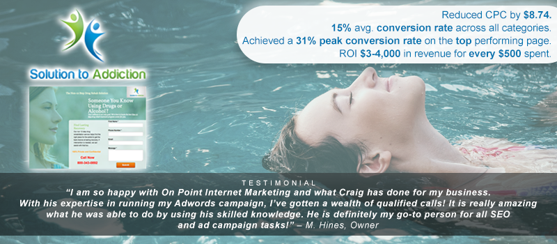 Drug rehab digital marketing materials for this case study campaign.