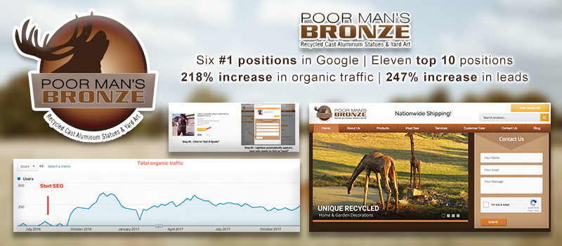 Ecommerce conversion rate optimization and SEO results for a home and garden company.