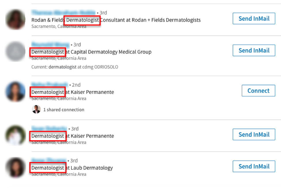 Screenshot of LinkedIn search results for dermatologists.