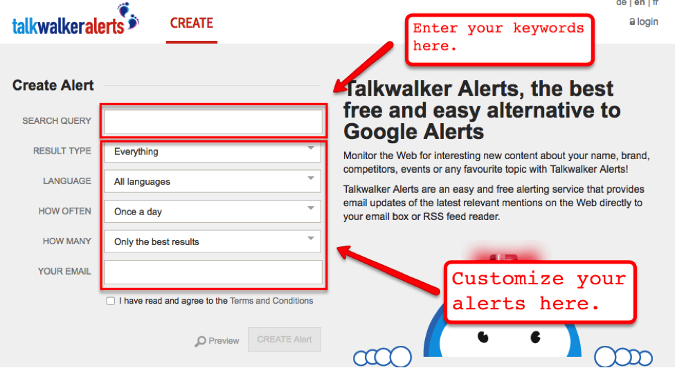 Screenshot of talk walker alerts to get a notification of a specific topic.