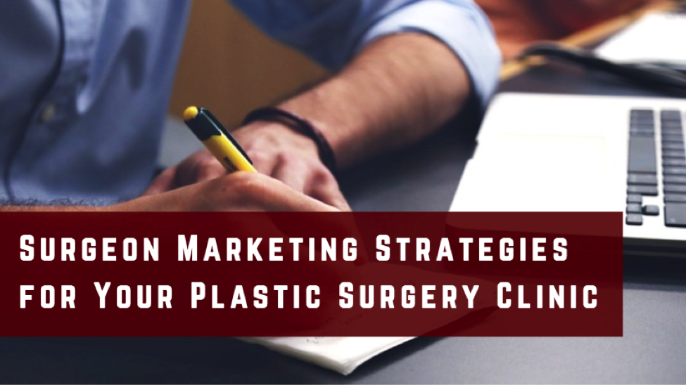Surgeon marketing strategies for plastic surgeons in red backdrop.