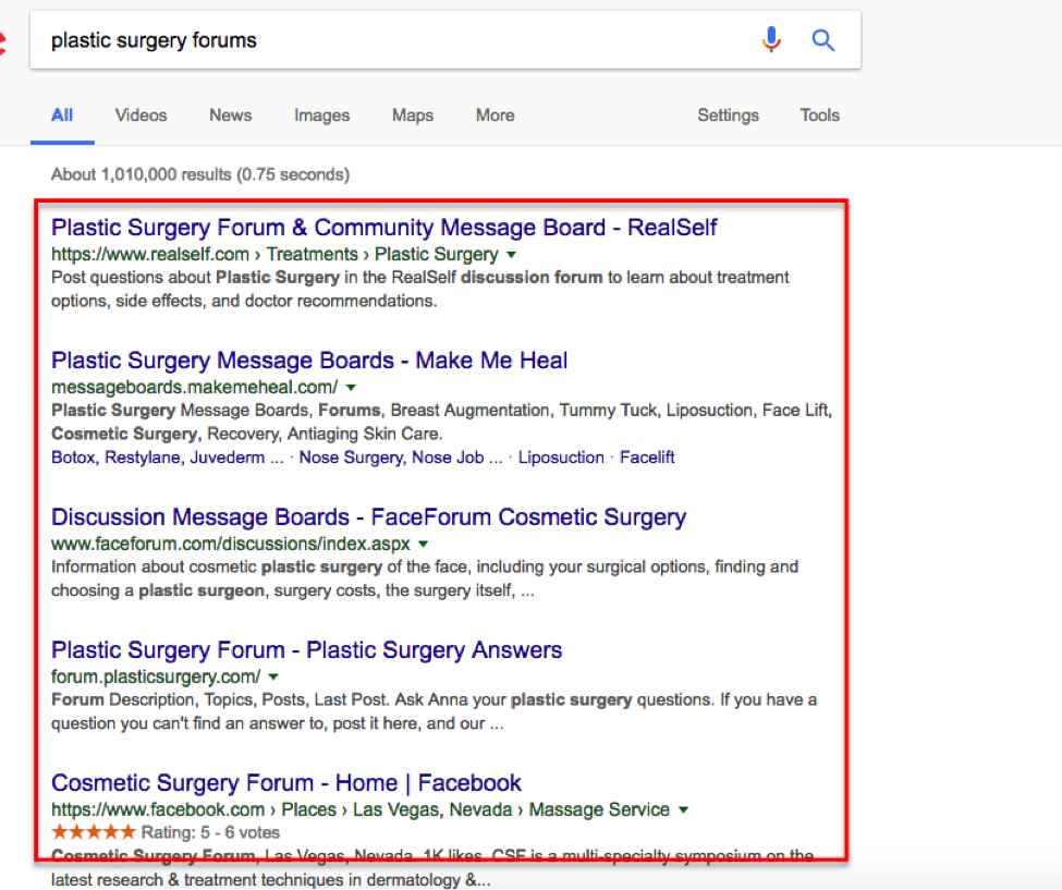 Screenshot of Google search results for plastic surgery forums.