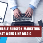 Surgeon on the computer looking for the best surgeons marketing tactics.