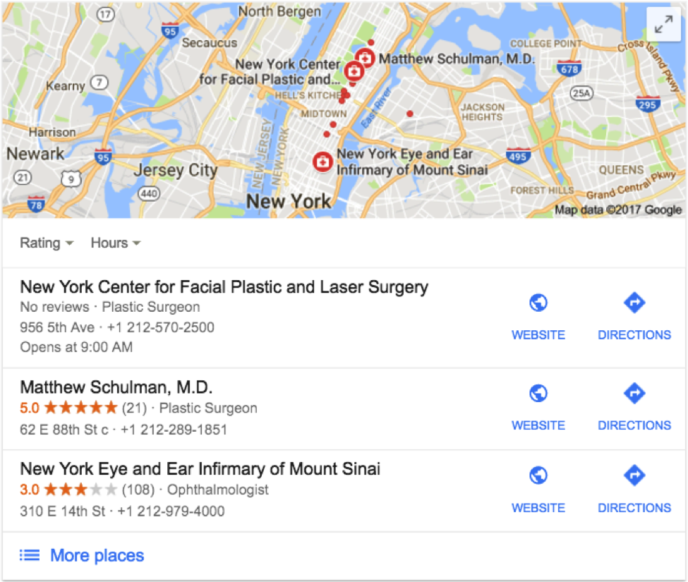 Screenshot of Google map results for local surgeons.