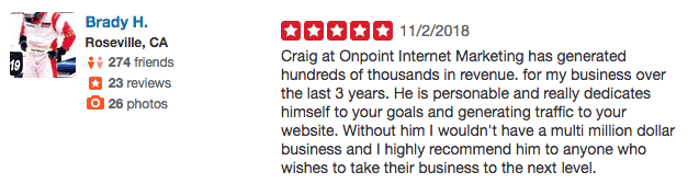 onpoint internet marketing reivew craig de borba - brady