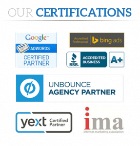 Los Angeles SEO company badges of numerous qualifications.
